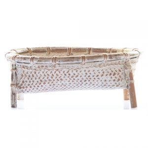 Whitewashed Bamboo Basket (24 cm)