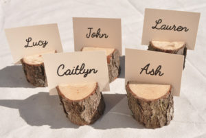 Mini Wooden Log Place Card Holder