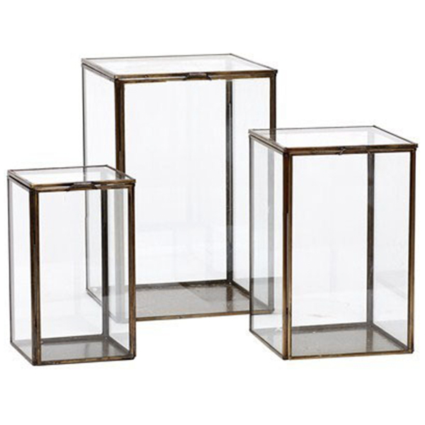 Glass Box Lanterns (Set of 3)