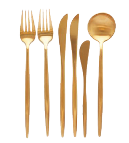Matte Gold Flatware Set Bali Decor