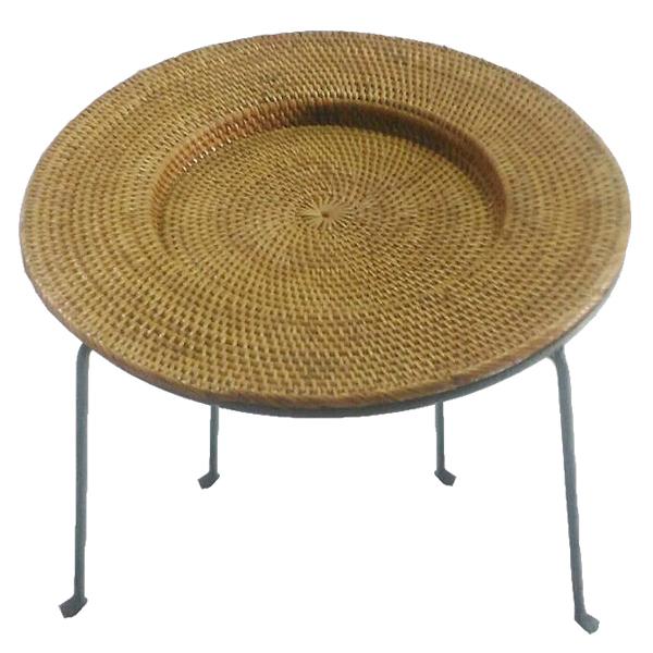 Natural Rattan Round Tray Table