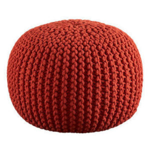 Round Warmed Knitted Pouf