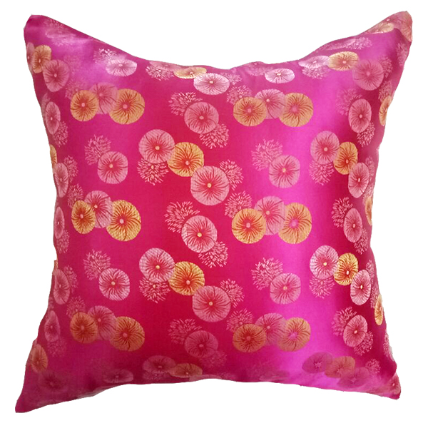 Shiny Fuchsia Silk Cushion