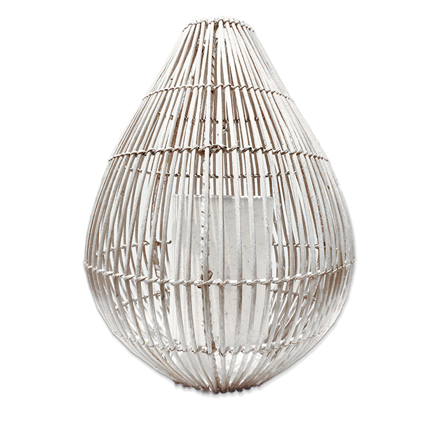 Whitewashed Rattan Basket Lantern (50 cm)